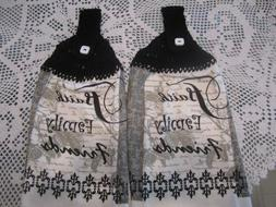 ***2-HANGING KITCHEN TOWELS+NEW+GREAT GIFT+100% COTTON, CROC