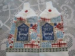 """*!*  2-HANGING KITCHEN TOWELS * WHITE CROCHED TOPS """"HOME SWE"""