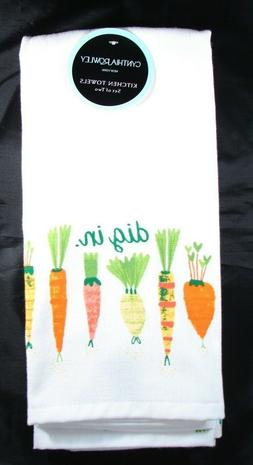 2 Cynthia Rowley Kitchen Dish Towels - dig in - Carrots Gard