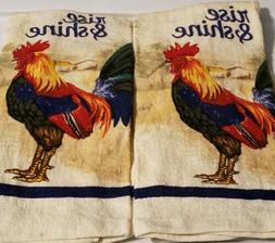 Kitchen Hand Dish Towels Rise & Shine Rooster Print New 15""