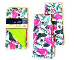 2 Kitchen Hand Towels Dish Drying Mat Flamingo Print Set of