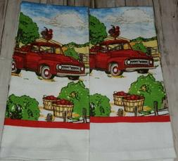 Home Collection Kitchen Hand Towels Red Truck Rooster Apple