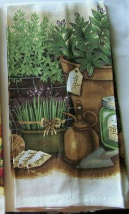 2 KITCHEN TOWELS  ROOSTERS or HERBS  PRINTED 100% COTTON U-P
