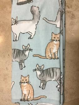 CASABA   KITCHEN TOWELS  CATS BLUE GRAY TAN WHITE 100% COTTO