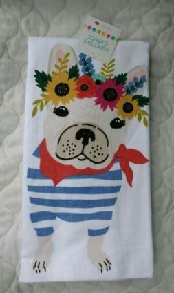 RITZ 2 Kitchen Towels Dish Hand Dogs Bulldog Flowers Pets Co