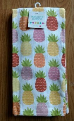 RITZ 2 Kitchen Towels Dish Hand Pineapples Multicolor Cotton
