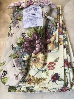 APRIL CORNELL 2 KITCHEN TOWELS POT HOLDER OVEN MITT GRAY PUR