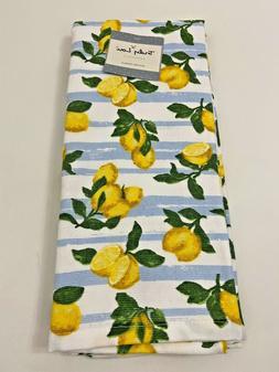 Truly Lou 2 Kitchen Towels Set Lemons on a Blue & White Stri