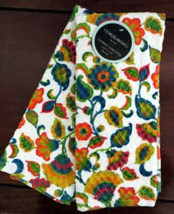 2 Kitchen Towels Vibrant, Colorful Leaves & Flowers by Cynth