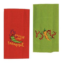 2 Mexican Food Themed Decorative Cotton Kitchen Towel Set |