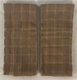 2 MOCHA Brown Plaid Windowpane Terry Cloth Kitchen Towels 17