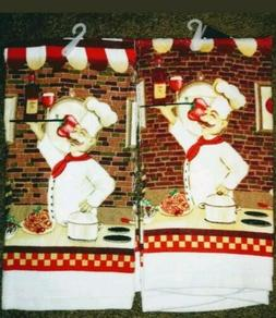 2 New Kitchen Towels Hand Towels Dish Towels Wine Chef Red W