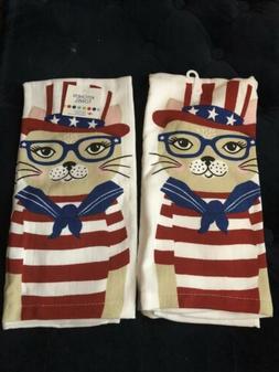 2 new kitchen towels w kitty cat