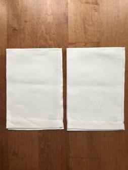 2 NEW FRETTE OFF-WHITE/IVORY LINEN DAMASK KITCHEN TEA TOWELS