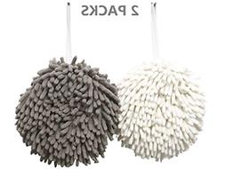 2 Pack Chenille Hanging Kitchen Bathroom Hand Towels With Lo