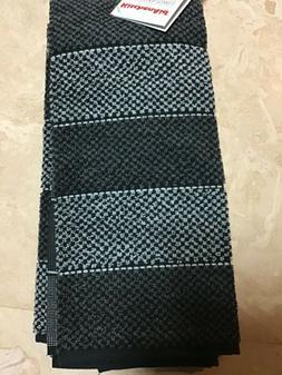 KITCHEN AID  2 PACK KITCHEN  TOWELS  BLACK GRAY STRIPE  100%