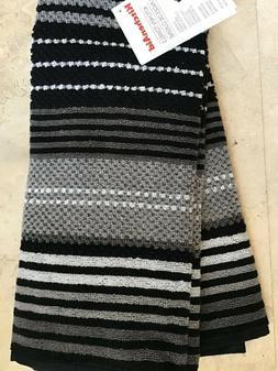 KITCHEN AID  2 PACK KITCHEN  TOWELS  BLACK GRAY WHITE STRIPE