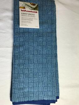 KITCHEN AID  2 PACK KITCHEN TOWELS LIGHT DARK  BLUE TEXTURED