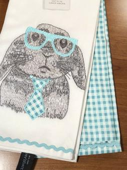 Cynthia Rowley 2 Pc Kitchen Tea Towels Embroidered Bunny Rab