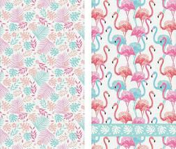"""2 PC Kitchen Towels with Pink Flamingo Birds Pattern 16x28"""""""