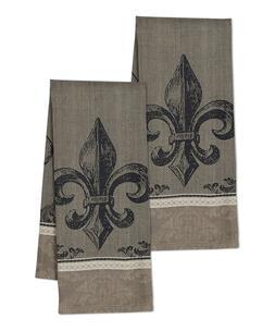 FLEUR DE LIS Jacqurd Weave Cotton Kitchen Towels