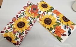 2 PRINTED KITCHEN TERRY TOWELS  BRIGHT COLORED SUNFLOWERS &