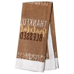 """2 Printed Kitchen Towels Thankful Grateful Blessed Brown 15"""""""
