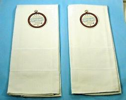 2 Charles Craft Pure White 100% Cotton Kitchen Towels for Cr
