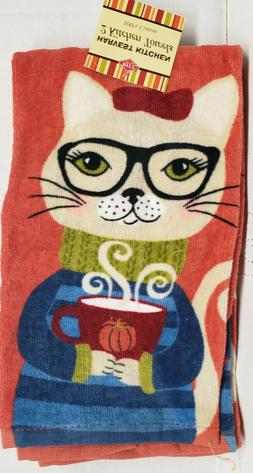 2 SAME COTTON KITCHEN TERRY TOWELS  FALL, CAT IN GLASSES W/C