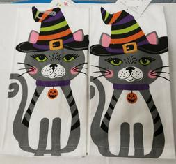 2 SAME PRINTED COTTON KITCHEN TERRY TOWELS  CAT IN HALLOWEEN