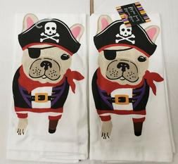 2 SAME PRINTED COTTON KITCHEN TERRY TOWELS  PIRATE DOG, HALL