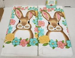 2 SAME PRINTED COTTON KITCHEN TERRY TOWELS  RABBIT & FLOWERS