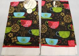 """2 SAME PRINTED COTTON KITCHEN TOWELS, 15"""" x 25"""", COFFEE CUPS"""