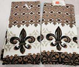 2 SAME PRINTED COTTON KITCHEN TOWELS  SPECIAL DESIGN ON BROW