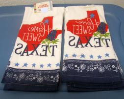 2 SAME PRINTED KITCHEN TERRY TOWELS  HOME SWEET TEXAS by AM