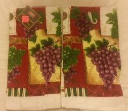 "2 SAME PRINTED KITCHEN TOWELS, 15"" x 25"", GRAPES by HOME TRE"