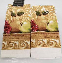 2 SAME PRINTED KITCHEN TOWELS  3 FRUITS: APPLES, PEARS & GRA