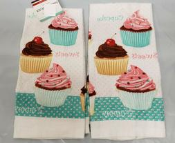 2 SAME PRINTED KITCHEN TOWELS  SWEETS, BUNCH OF CUPCAKES, GE