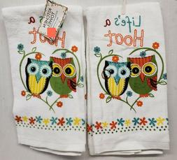SET OF 2 SAME PRINTED KITCHEN TERRY TOWELS  2 OWLS,LIFE IS A