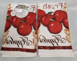 "2 SAME PRINTED KITCHEN TOWELS, 15"" x 25"", FRESH APPLES ON WH"