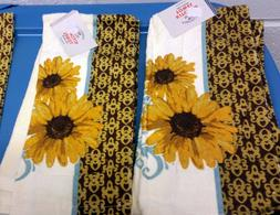 "2 SAME PRINTED KITCHEN TOWELS, 15"" x 25"", 2 YELLOW COLOR SUN"