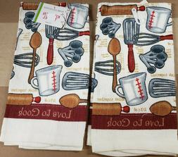 2 SAME PRINTED KITCHEN TOWELS,  KITCHEN GADGETS, LOVE TO COO