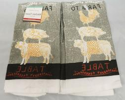 2 SAME PRINTED KITCHEN TOWELS  FARM TO TABLE ANIMALS,ROOSTER