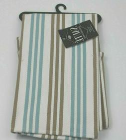 Ritz Saute  Lint-Free Blue Taupe Basketweave Stripe Kitchen