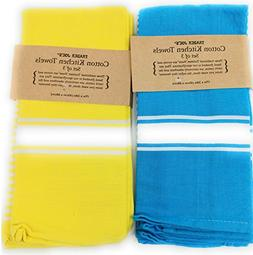 Trader Joe's - KITCHEN COTTON TOWELS Blue and Yellow  17 in