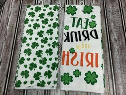2 St. Patrick's Day Kitchen Dish Hand Towels Eat Drink Be