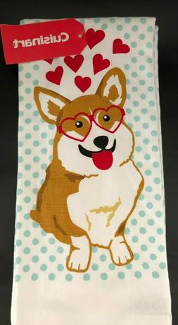 2 Corgi Kitchen Towels - Dog Hearts Red Teal