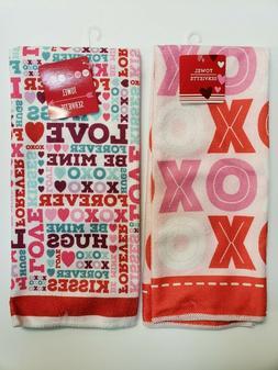 2 Valentine's Day Hearts XOXOX Pink Kitchen Hand Tea Towels