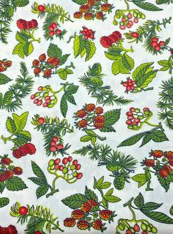 """2 Yds x 36"""" Off White Cotton Fabric with Red, Pink & Green F"""