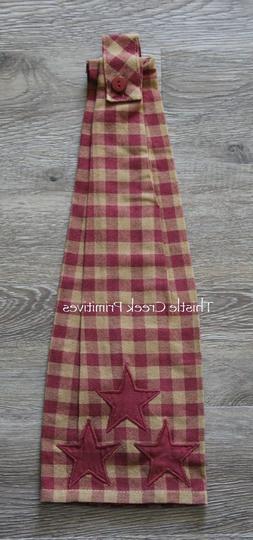 VHC Brands Primitive Tabletop Cody Burgundy Fabric Loop Cott